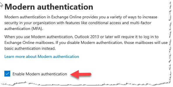 Enable Modern Authentication in Office 365
